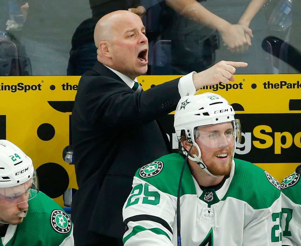 Dallas Stars head coach Jim Montgomery yells to his players during the third period of play against the St. Louis Blues at the Enterprise Center in St. Louis, Tuesday, May 7, 2019. The teams were playing in the Western Conference Second Round Game 7 of the 2019 NHL Stanley Cup Playoffs. (Tom Fox/The Dallas Morning News)