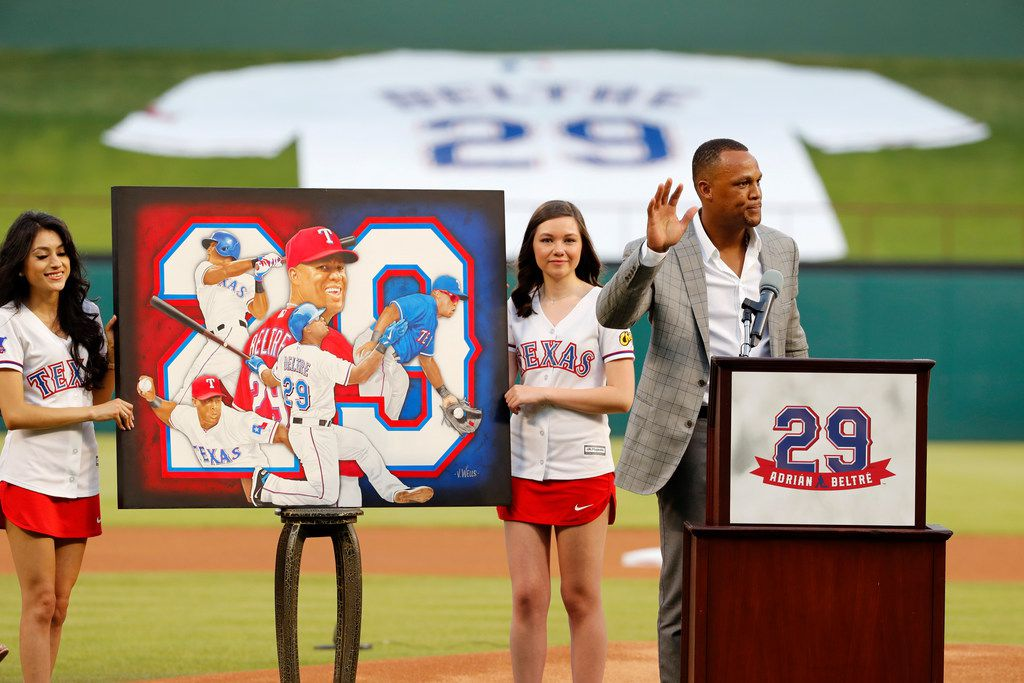 Retired baseball player Adrian Beltre makes comments during a ceremony where his Texas Rangers jersey was retired before the second baseball game of a doubleheader against the Oakland Athletics in Arlington on June 8.