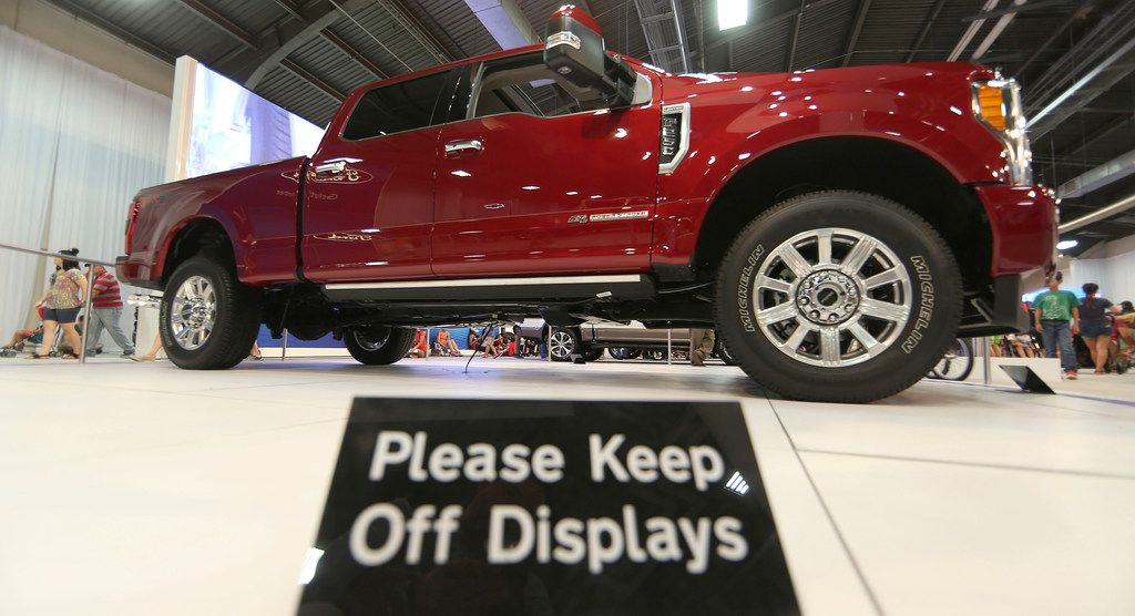 Fairgoers take photos of the F-450 Super Duty Limited at the State Fair of Texas.