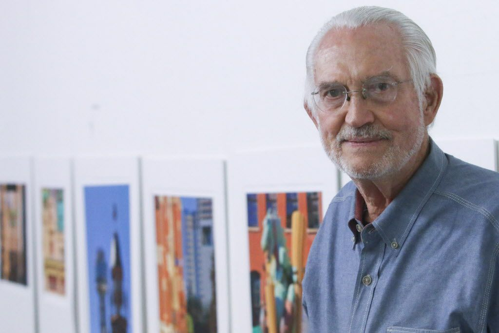 Leonard Volk photographer of 64 years displays his work in his studio at the  Continental Gin Building Open Studios on April 18, 2015
