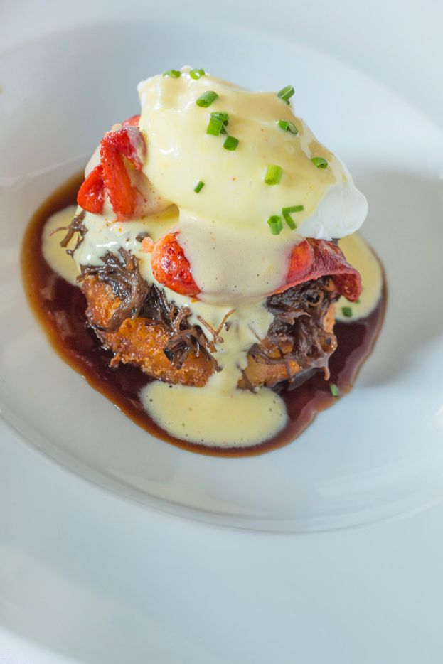 On Father's Day, Ocean Prime will offer a braised short rib surf and turf for $22 with crispy gouda potato cake, lobster claw, poached egg and Hollandaise.