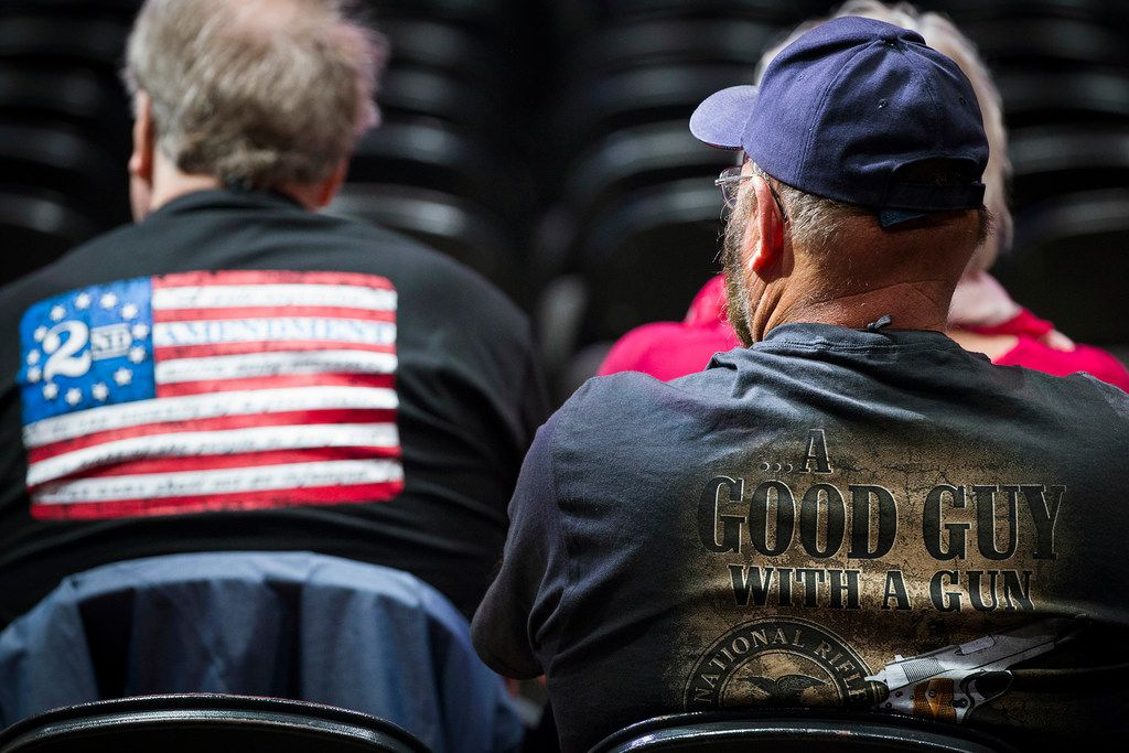 People in the audience wait for the start of the National Rifle Association-Institute for Legislative Action Leadership Forum at the Kay Bailey Hutchison Convention Center on Friday, May 4, 2018, in Dallas.