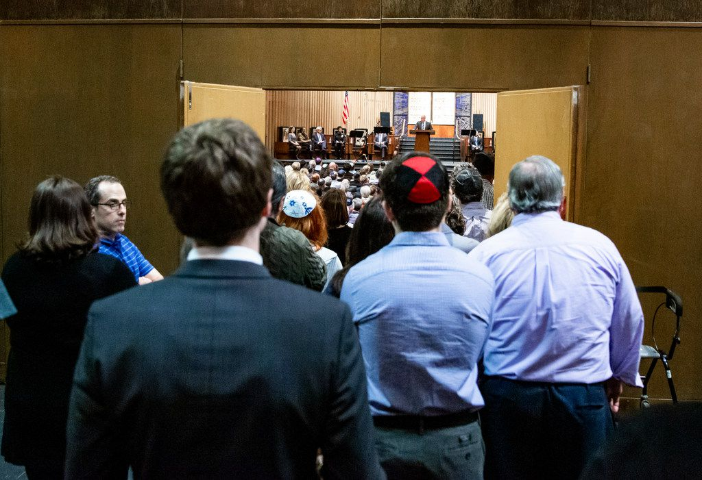 it was standing-room only Sunday night at Congregation Shearith Israel for the interfaith vigil following the massacre in Pittsburgh.
