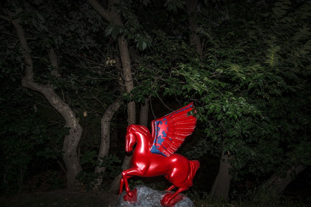 A Pegasus statue owned by Don and Barbara Daseke at their home in Dallas on July 11, 2018. Dallas resident Sheri Hall asked Curious Texas about the commissioned sculptures that started appearing around the city in the early 2000s.