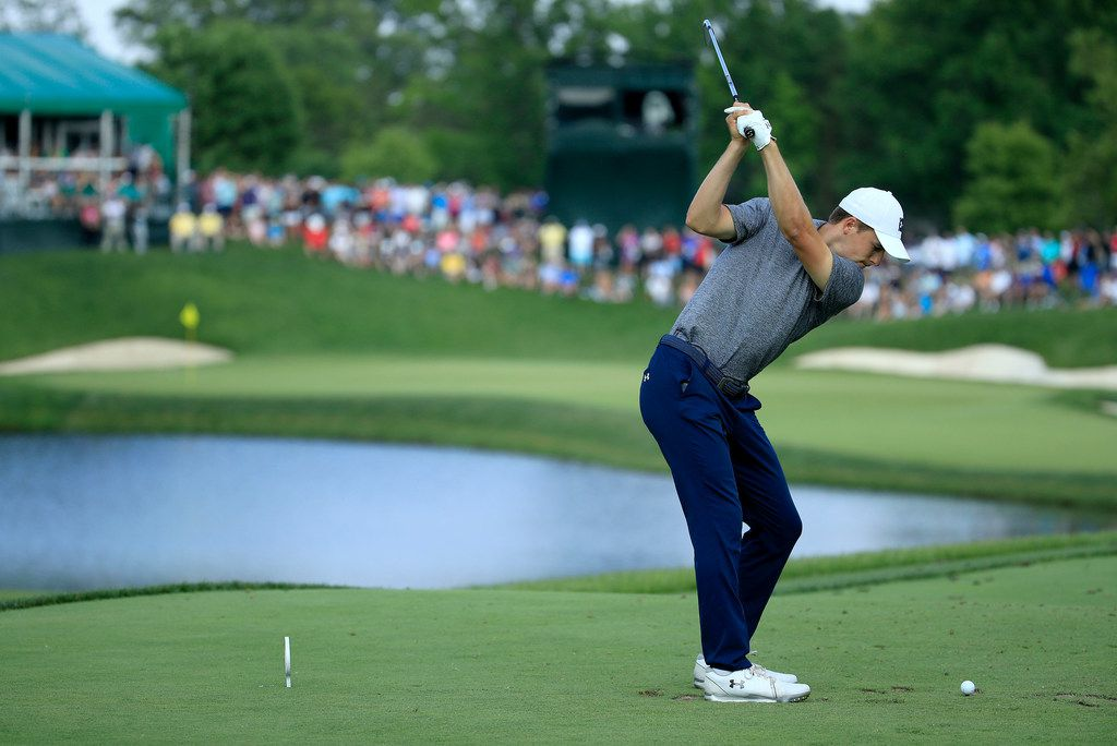 DUBLIN, OHIO - JUNE 01: Jordan Spieth hits his tee shot on the 16th hole during the third round of The Memorial Tournament Presented by Nationwide at Muirfield Village Golf Club on June 01, 2019 in Dublin, Ohio. (Photo by Andy Lyons/Getty Images)