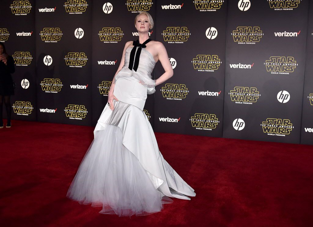 """Gwendoline Christie arrives at the world premiere of """"Star Wars: The Force Awakens"""" at the TCL Chinese Theatre on Monday, Dec. 14, 2015, in Los Angeles. Christie plays the role of Captain Phasma in the film."""