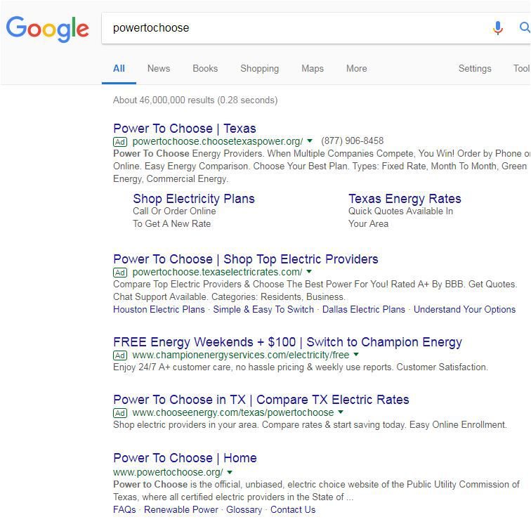 """Four ads pop up on Google search for the words """"power to choose"""" before the state's shopping site shows up. This is designed to steer consumers away from their intended destination and send them to electricity companies that use those words to confuse."""
