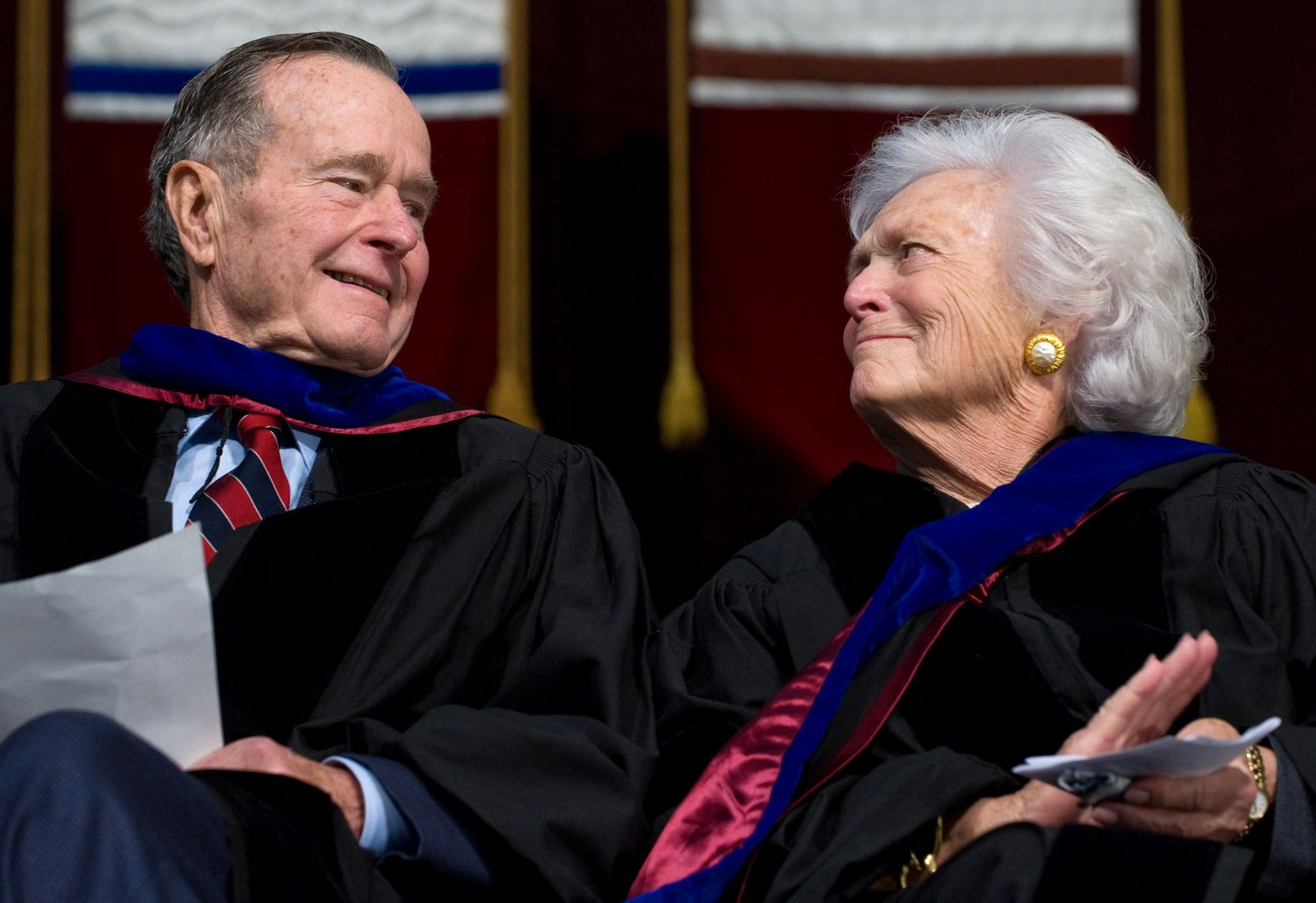 Barbara Bush and her husband, former President George H.W. Bush, attended the December 2008 Texas A&M University graduation ceremony in College Station, where their son, President George W. Bush, delivered the commencement address.