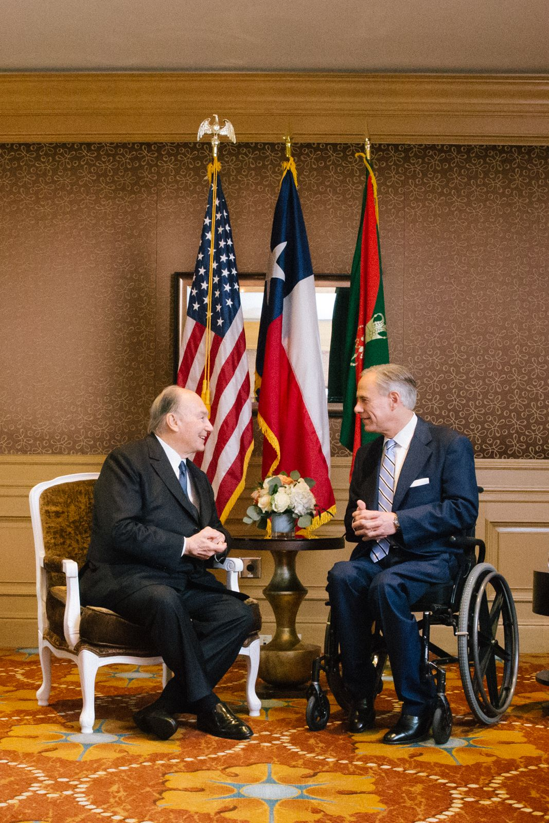 Gov. Greg Abbott meets with the Aga Khan, spiritual leader to Ismaili Muslims, during an official visit celebrating his 60th year as imam.