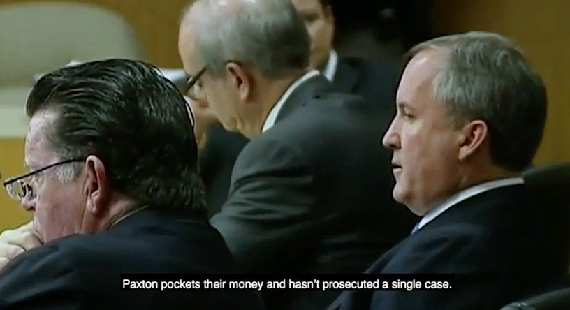 """A screenshot from Justin Nelson's campaign ad """"parents and grandparents"""" shows a claim his campaign made that Texas Attorney General Ken Paxton hasn't prosecuted """"a single case"""" against a nursing home since being elected in 2015. The Office of the Attorney General and Paxton's campaign have pushed back, providing evidence that the agency has brought multiple civil cases and helped on more than a dozen criminal prosecutions of long-term care providers in the past three years."""
