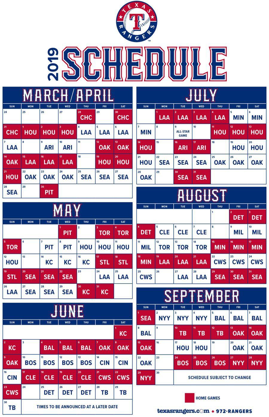 Calendario 2019 de los Rangers