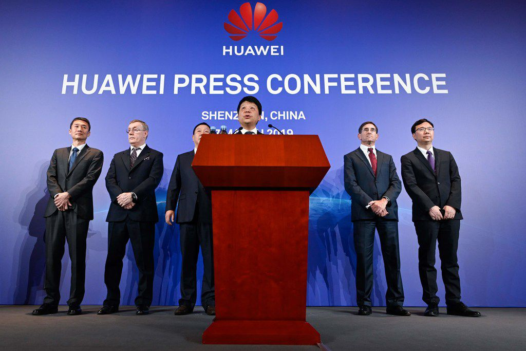 Huawei's rotating chairman Guo Ping speaks during a press conference in Shenzhen, China's Guangdong province on March 7, 2019. - Chinese telecom giant Huawei said on March 7 it was suing the United States for barring government agencies from buying the telecom company's equipment and services. (Photo by WANG ZHAO / AFP)WANG ZHAO/AFP/Getty Images