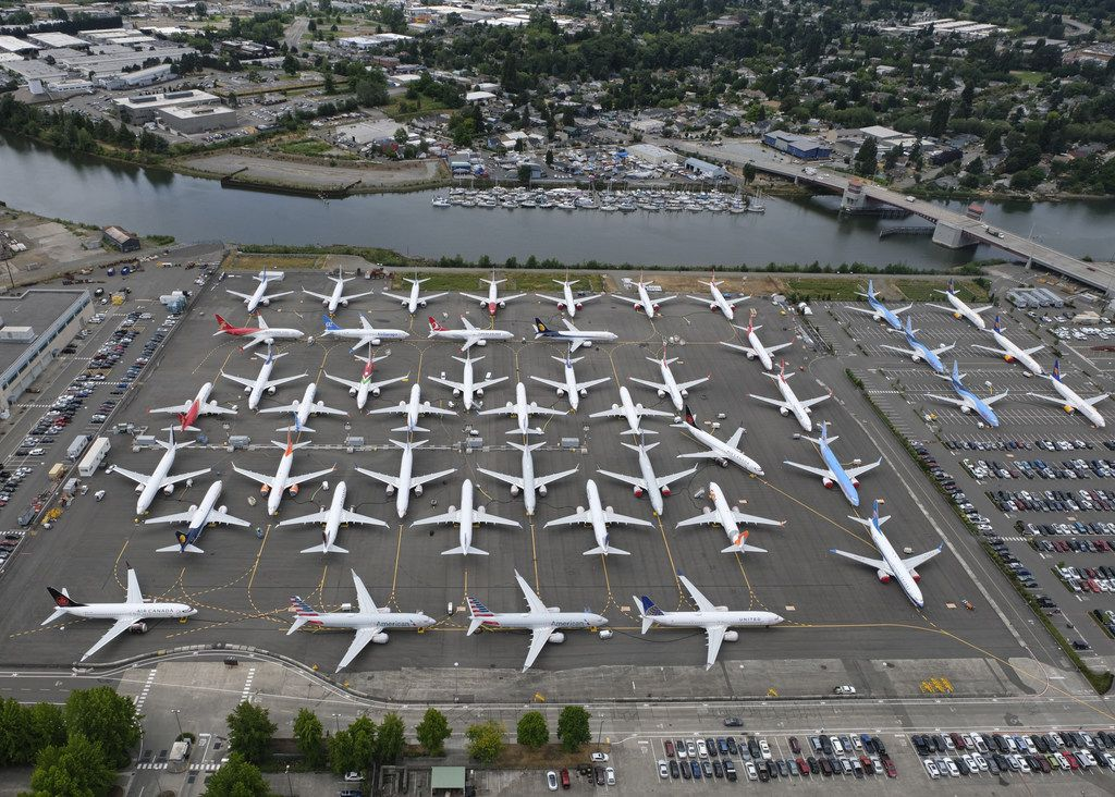 SEATTLE, WA - JUNE 27: Boeing 737 MAX airplanes are stored on employee parking lots near Boeing Field, on June 27, 2019 in Seattle, Washington. After a pair of crashes, the 737 MAX has been grounded by the FAA and other aviation agencies since March, 13, 2019.  (Photo by Stephen Brashear/Getty Images)