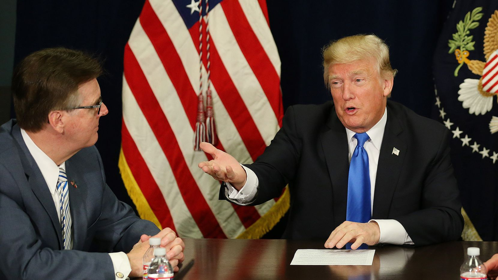 President Donald Trump, shown with Lt. Gov. Dan Patrick during a 2017 visit to Dallas, has kept promises such as tax cuts and is more in tune with Texas voters than anyone the Democrats will nominate, Patrick said Tuesday.