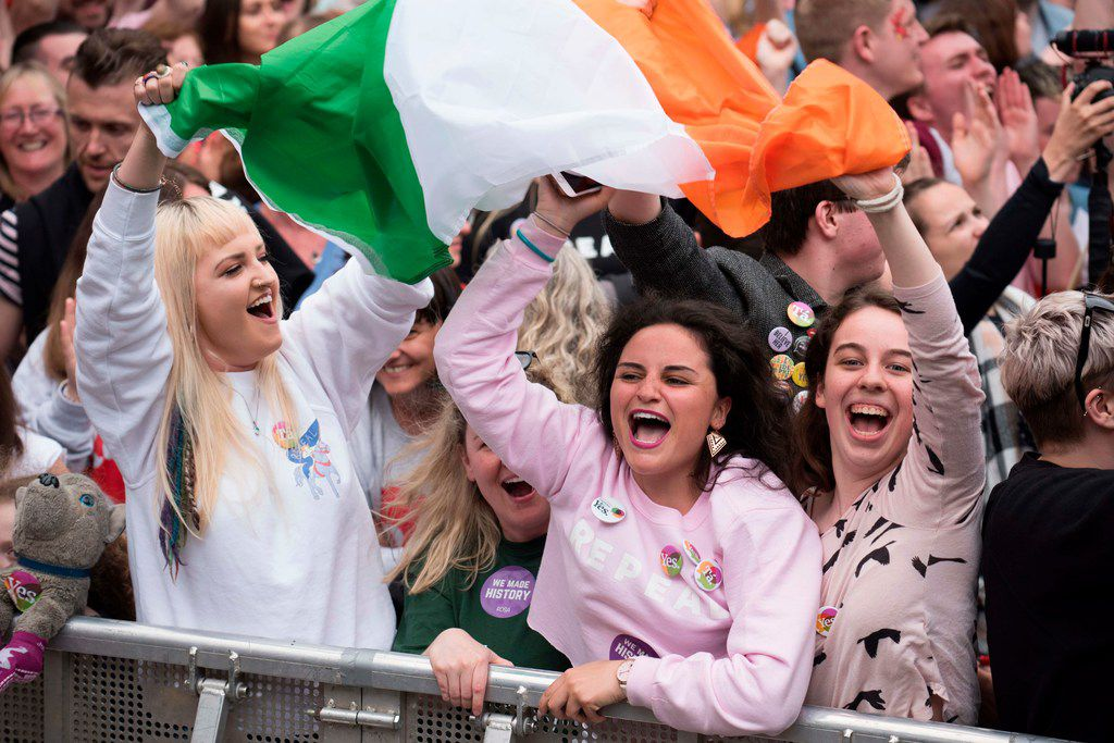 People celebrate the official result of the Irish abortion referendum at Dublin Castle in Dublin on May 26. It showed a landslide decision in favor of repealing the constitutional ban on abortions.