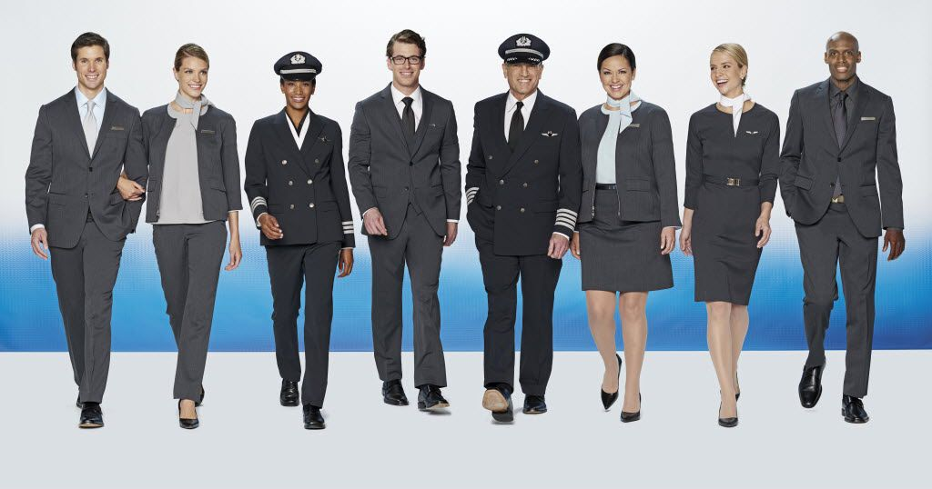 Prototypes of the new uniform styles being tested by American Airlines employees.