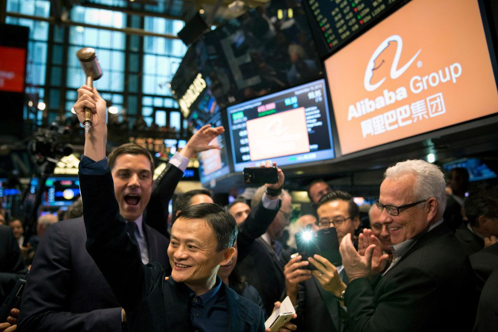 Jack Ma, chairman of Alibaba, prepares to ring the bell at the New York Stock Exchange on Sept. 19, 2014. Ma, China's richest man, plans to retire from his e-commerce company to focus on philanthropy.