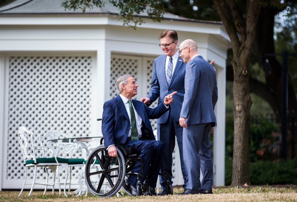 Lt. Gov. Dan Patrick, Gov. Greg Abbott and Speaker of the House Dennis Bonnen held a news conference at the governor's mansion on the second day of the 86th Texas legislature on Wednesday, January 9, 2019 in Austin, Texas.