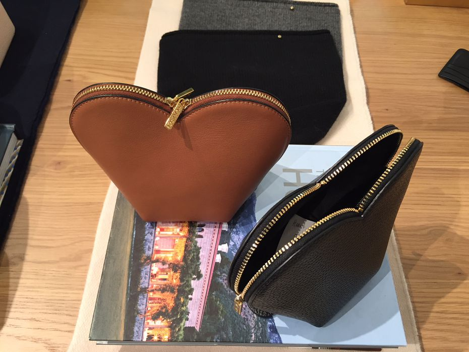 A heart-shaped, stand-up leather cosmetics bag at Cuyana for $90.