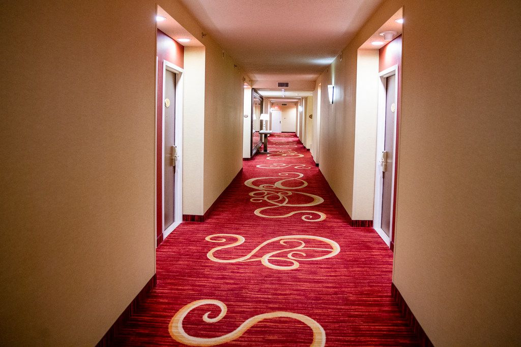 A hallway before it is renovated at the Renaissance Dallas Hotel.