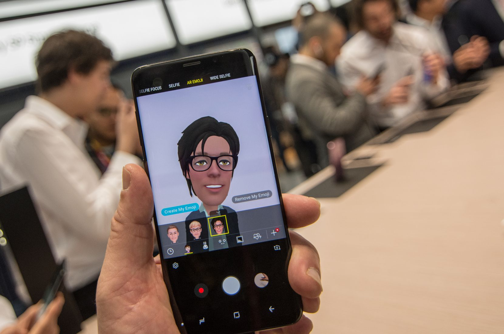Attendees created AR Emojis on the new Samsung Galaxy S9 at the  Mobile World Congress 2018 in Barcelona.