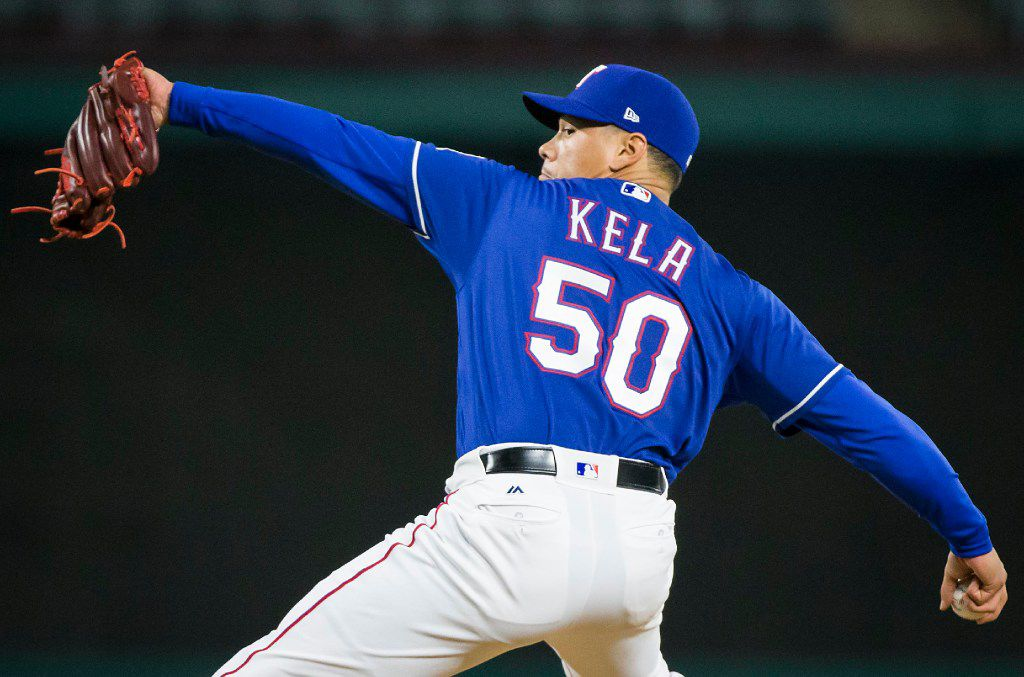 Texas Rangers relief pitcher Keone Kela pitches during the ninth inning of a 14-3 victory over the Minnesota Twins at Globe Life Park on Wednesday, April 26, 2017, in Arlington. (Smiley N. Pool/The Dallas Morning News)