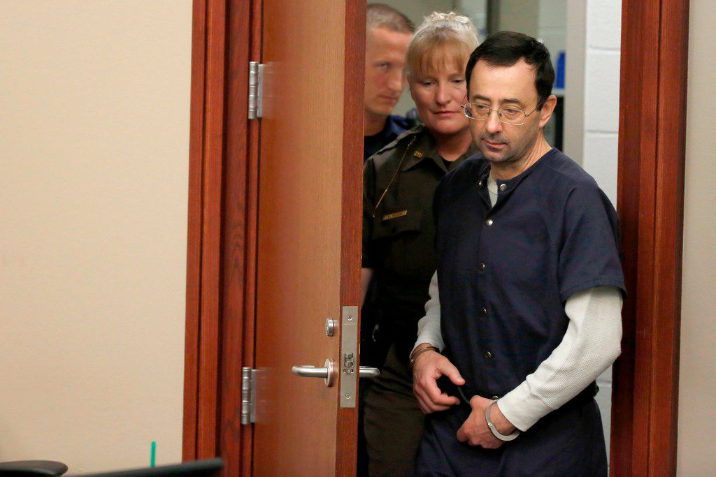 Former Michigan State University and USA Gymnastics doctor Larry Nassar arrives for impact statements during the sentencing phase in Ingham County Circuit Court on Wednesday.