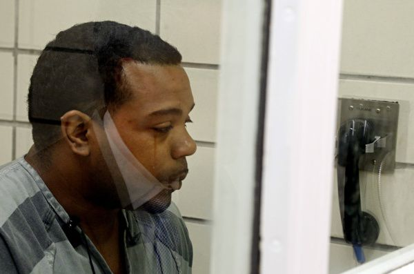 A tear rolls down the face of Franklin Davis as he talks with WFAA reporter David Schechter Monday at Lew Sterrett Justice Center in Dallas.