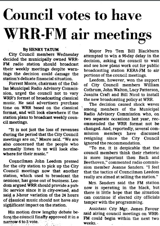 The Feb. 2, 1978, Dallas Morning News story about the vote that put Dallas City Council meetings on WRR.