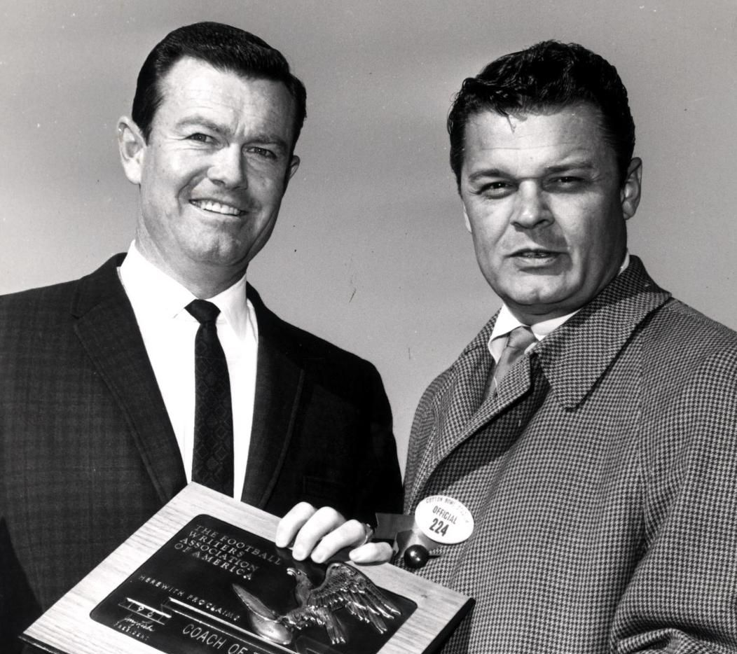 """Legendary University of Texas football coach Darrell Royal (left) said he always enjoyed being interviewed by Blackie Sherrod (right). """"He's different and clever,"""" Royal once said. """"I was never bored, talking to him or reading him."""""""