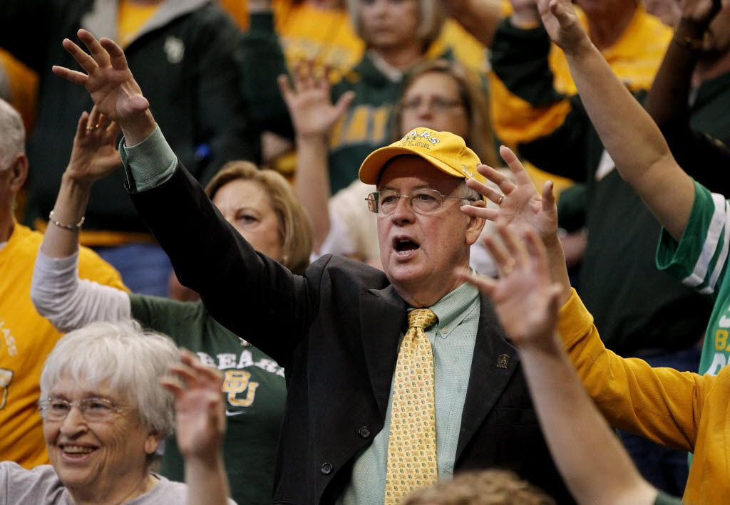 Baylor Bears President Ken Starr after a game against Kansas State Wildcats during the Big 12 Women's Basketball Championship at the American Airlines Center in Dallas on March 9, 2013. Baylor Bears defeated the Kansas State Wildcats 80-47. (Vernon Bryant/The Dallas Morning News)