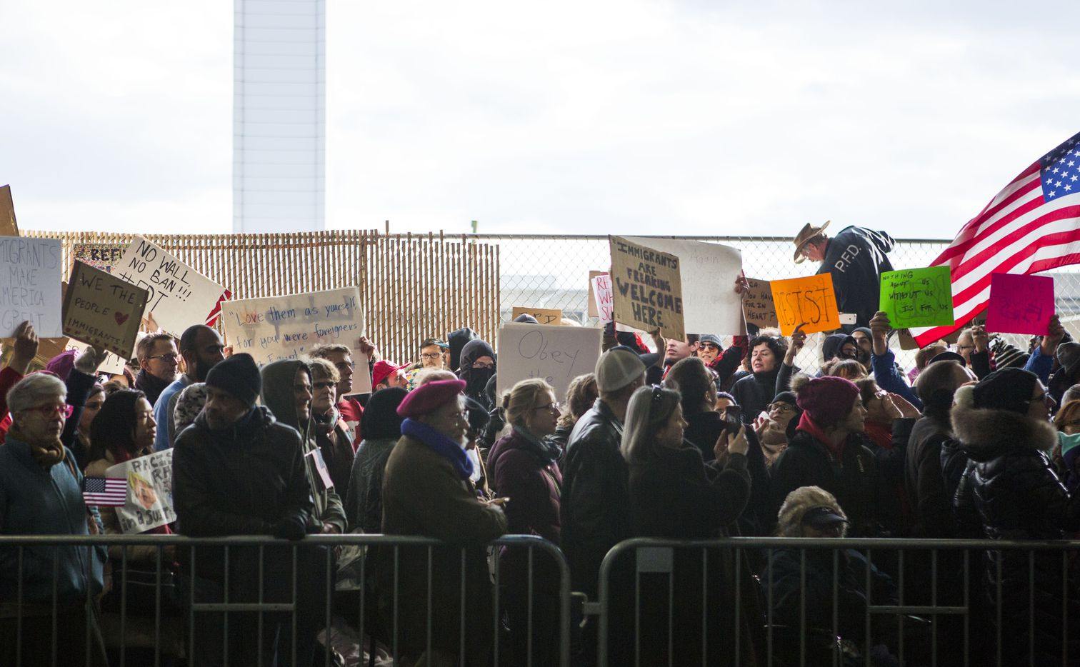 PHILADELPHIA, PA - JANUARY 29: Demonstrators at Philadelphia International Airport protest against the executive order that President Donald Trump signed  clamping down on refugee admissions and temporarily restricting travelers from seven predominantly Muslim countries on January 29, 2017 in Philadelphia, Pennsylvania. Demonstrators gathered at airports across the country in protest of the order. (Photo by Jessica Kourkounis/Getty Images)