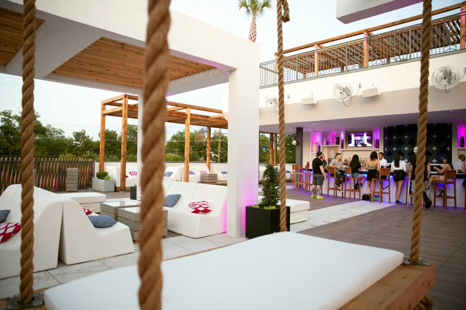 The new rooftop bar 77 Degrees looks like a resort.