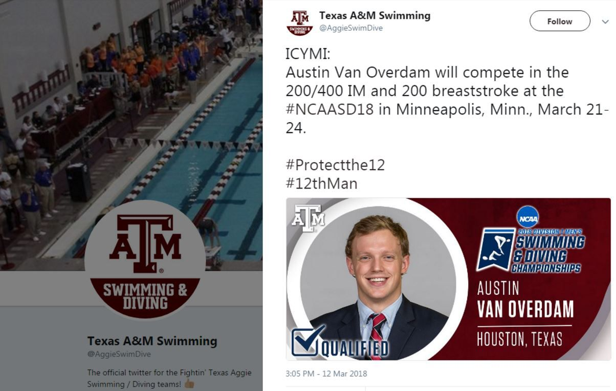 A since-deleted tweet by Texas A&M University's Swimming and Diving team promoted Austin Van Overdam's upcoming swimming competition.
