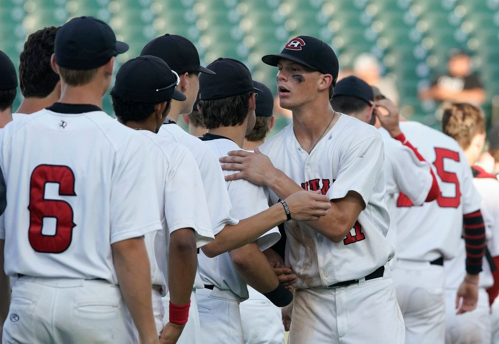 Colleyville Heritage's Bobby Witt (17 )congratulates his teamates after coming on in relief to beat Corsicana, 2-1 in a Class 5A semi-final state baseball playoffs at the Dell Diamond in Round Rock.  Witt scored Heritage's only runs in the game. (Bob Daemmrich/Special Contributor)