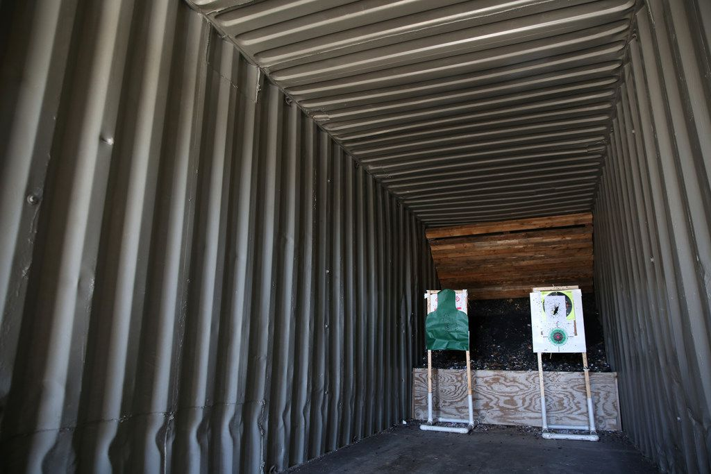 The indoor shooting range inside a shipping container at Lonestar Gun Club and Redneck Resort in Mesquite on Monday.
