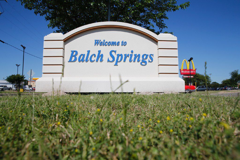 The welcome sign for Balch Springs is not far from the scene where now-fired officer Roy Oliver shot and killed 15-year-old Jordan Edwards.