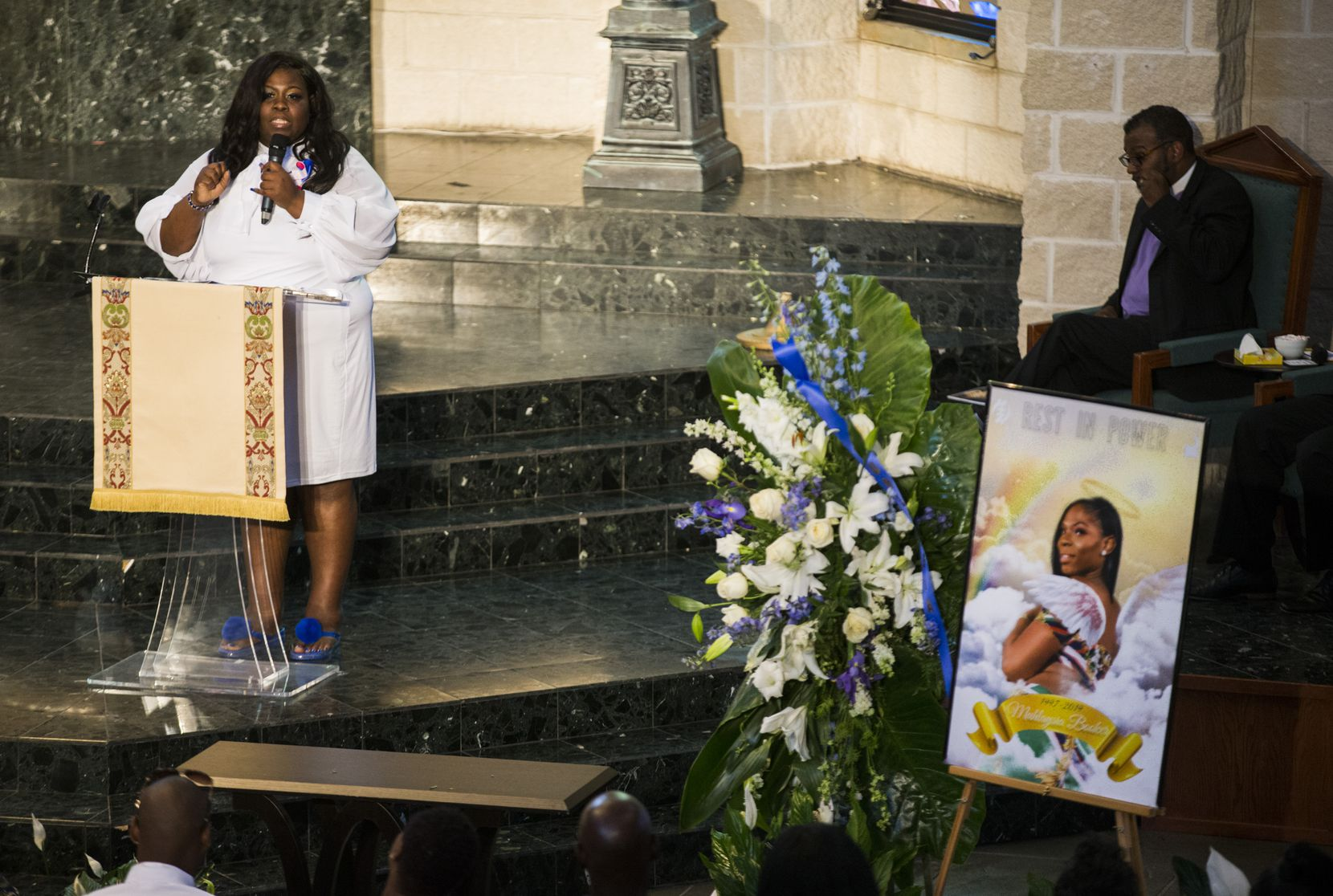 Stephanie Houston, mother of Muhlaysia Booker, speaks at her daughter's funeral service Tuesday at Cathedral of Hope in Dallas. Booker was a transgender woman who was shot and killed May 18 in Far East Dallas.