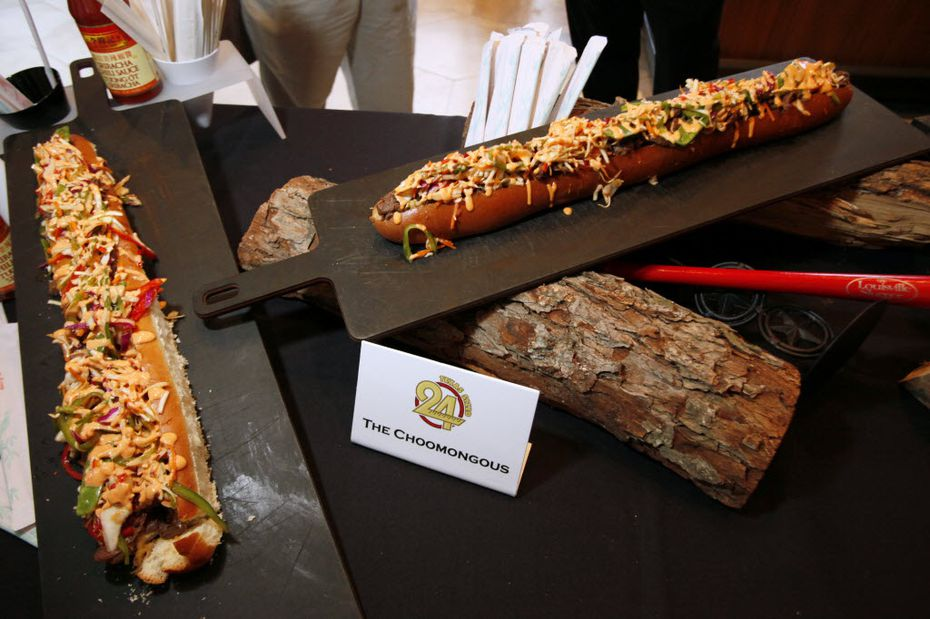 Here's the Choomongous, a 2014 Texas Rangers concession item named after Rangers' outfielder Shin-Soo Choo. It was a 24-inch beef sandwich. Because why not?