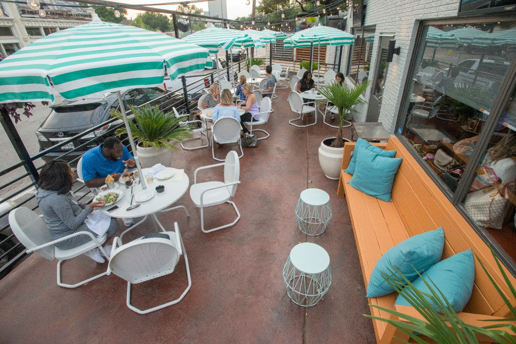 The patio at Stellar in Dallas, Texas on May 10, 2017.