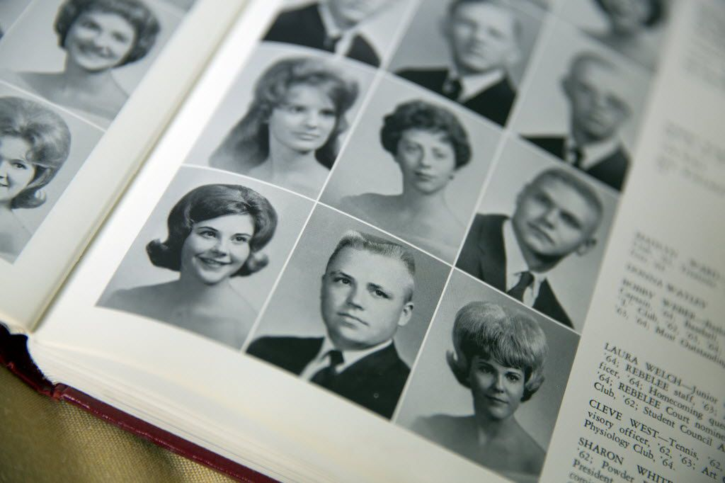 Former first lady Laura Bush (far left) is shown in the 1964 Midland Lee High School yearbook.