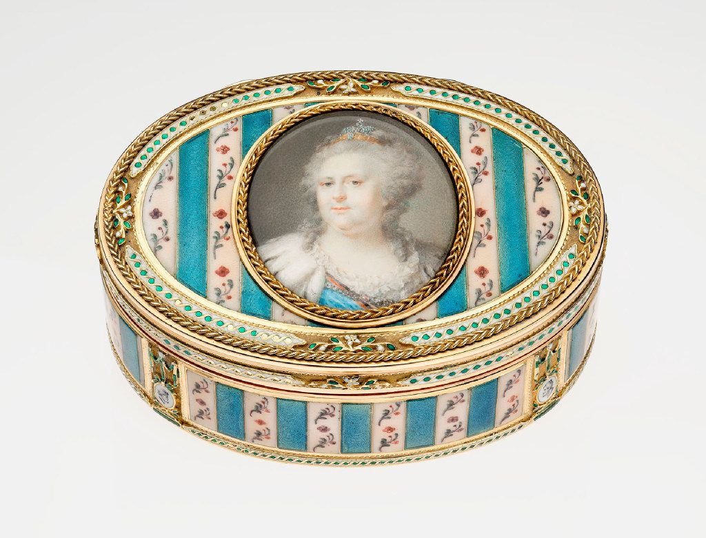 Casanova: The Seduction of Europe, at the Kimbell Art Museum Oval Snuffbox with Miniature of Catherine the Great, c. 1775 Gold and enamel, set with semi-precious gemstones. Museum of Fine Arts, Boston