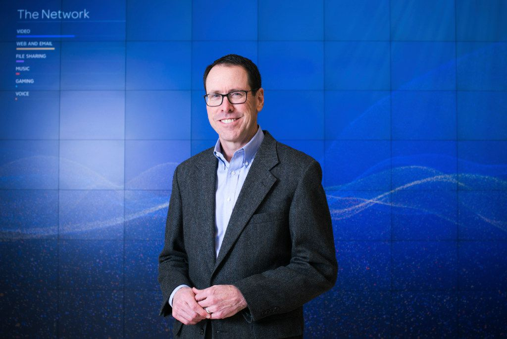 PHOTO MOVED IN ADVANCE AND NOT FOR USE - ONLINE OR IN PRINT - BEFORE OCT. 30, 2016. — FILE -- Randall Stephenson, chief executive of AT&T, inside of the company's headquarters in Dallas, Jan. 27, 2016. The last two mega-mergers involving Time Warner fell far short of their promise, but Stephenson and investors believe the recently proposed merger with AT&T will be different. (Brandon Thibodeaux/The New York Tim