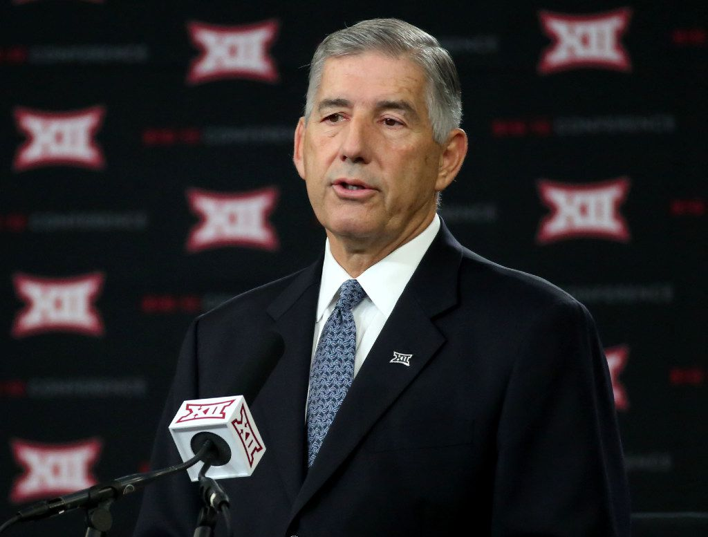 Big 12 Commissioner Bob Bowlsby speaks during Big 12 football media days in 2017.. (Rose Baca/The Dallas Morning News)