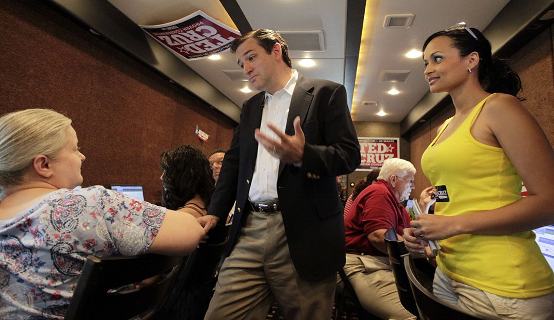 As a candidate for Senate in May 2012, Ted Cruz made a stop at the Tea Party Express mobile phone bank on a bus in a hotel parking lot in Richardson, Texas. Katrina Pierson, right, of Garland, was a volunteer at the event.