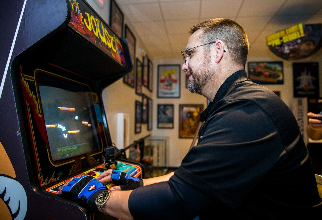 Lonnie McDonald works on a high score on the video game Joust on Wednesday, March 22, 2017 at The National Videogame Museum in Frisco, Texas. The self-proclaimed Joust master is touring the country to post a score of 9,999,999 on every Joust arcade machine known to exist. He did it for the 150th time at The NVM, with a score of 10,214,800, which took him about five hours. (Ashley Landis/The Dallas Morning News)