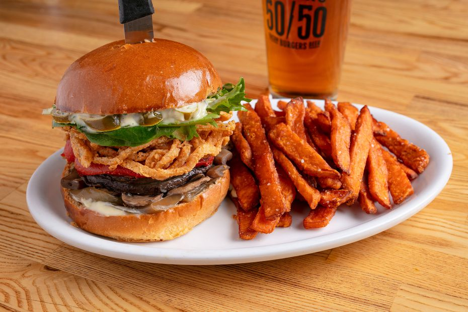 Know what's not a joke? Slater's 50/50's new vegan mushroom-onion burger. Well played.