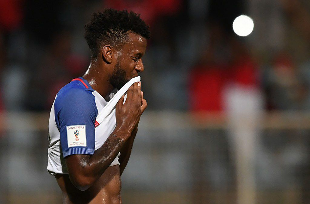 USA's Kellyn Acosta gestures during their 2018 World Cup qualifier football match against Trinidad and Tobago in Couva, Trinidad and Tobago, on October 10, 2017. / AFP PHOTO / Luis ACOSTALUIS ACOSTA/AFP/Getty Images