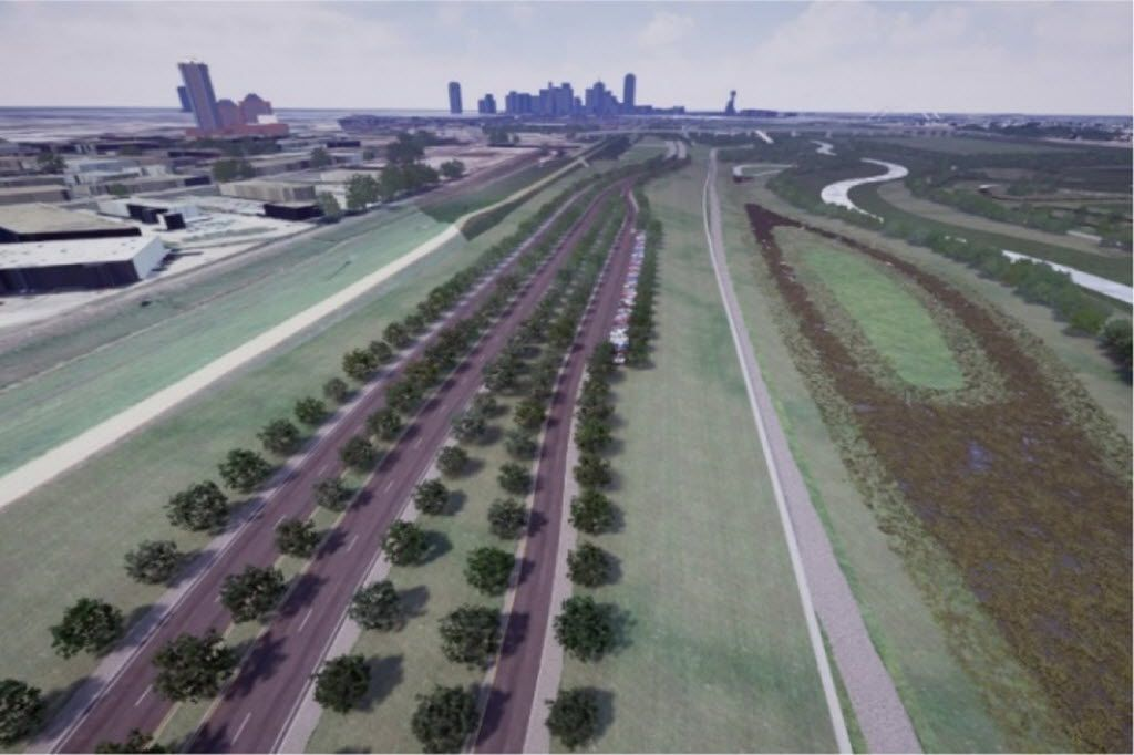 """This illustration of what a tree-lined """"€meandering""""€ Trinity River parkway might look like was part of a presentation at a Dallas City Council transportation committee earlier this year. More than $2 million and another year of design work is needed before the city can learn whether or not it can build the road as pictured above. It already has approval for a larger version with more interchanges and lanes and fewer trees."""