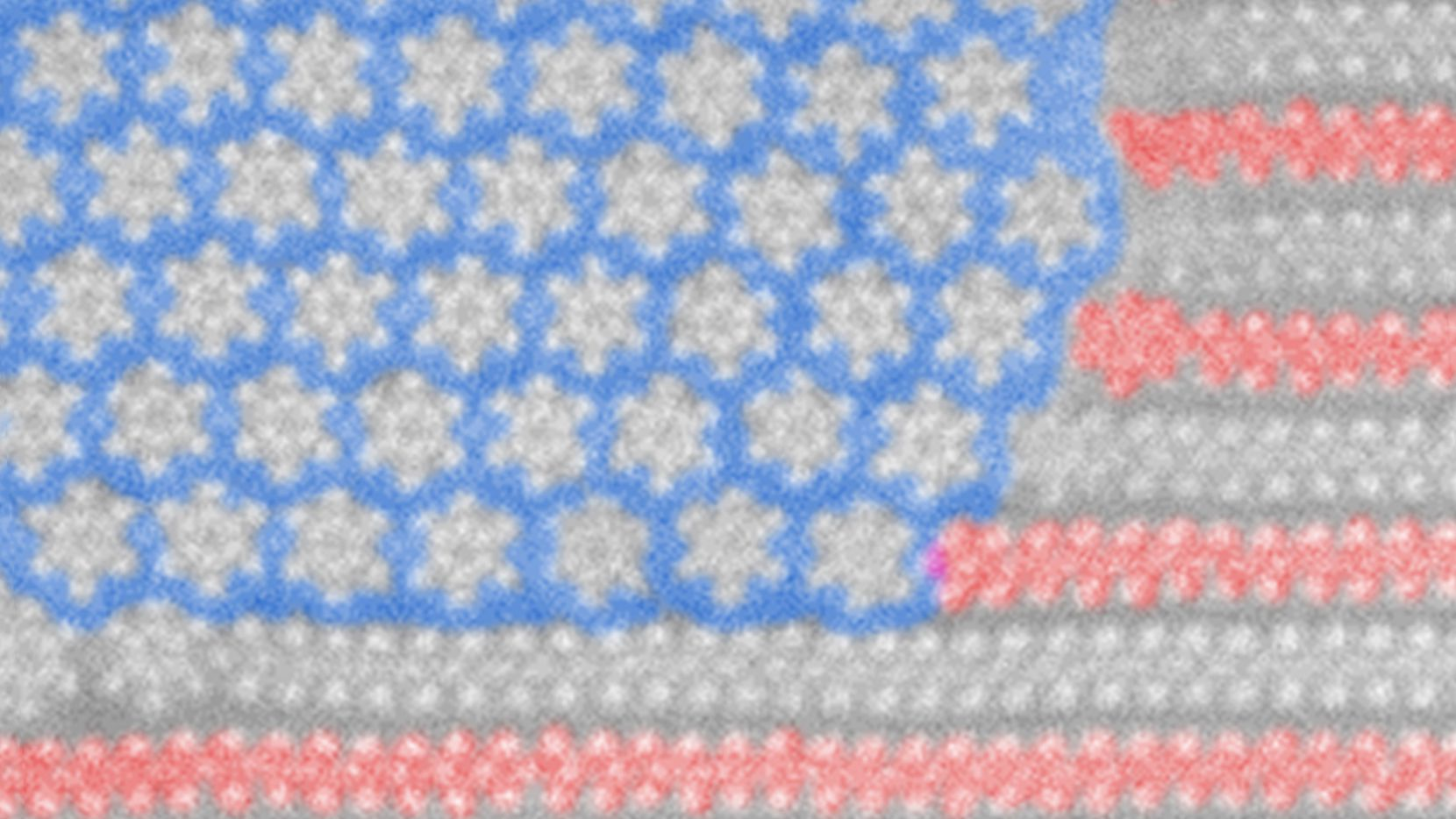 """This microscopic nanoflag pattern emerged as sheets of the """"stripe"""" material -- molybdenum ditelluride -- were heated to about 450 degrees Celsius, at which point its atoms began to rearrange and form new structures -- the """"stars"""" in this false-color image. (Courtesy UT Dallas)"""